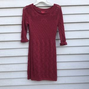 Red knitted dress long sleeve